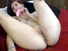 cute shaved girl fingering