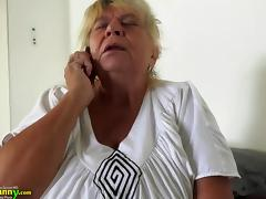 Busty old mom masturbation pussy with teen