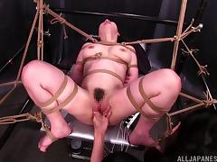 Bondage fetish Japanese pornstar being teased with toys