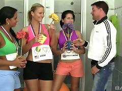 Athletic sluts compete at who gives the most skilled blowjob