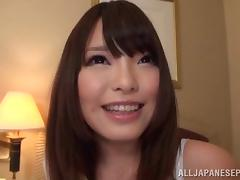 Brown eyed Japanese girl in stockings gets laid back and fucked hard