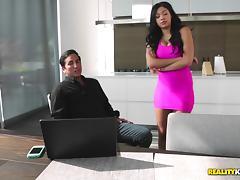 Burglar pleasures a big tits slut while her husband is in the house
