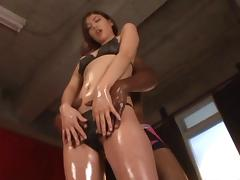Oiled up Japanese girl in lingerie enjoying her first pulsating BBC