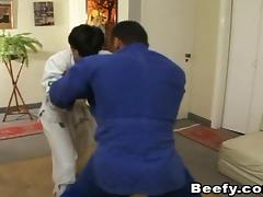 Lewd gay chap entices his judo instructor into a saucy ass fucking action