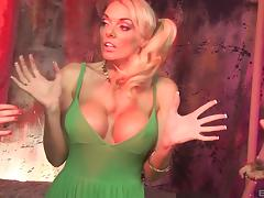 Amazing fake tits on a trio of lesbian pornstars fucking toys
