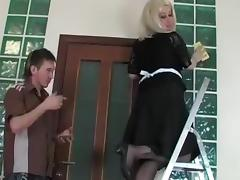 blonde aged maid and boy