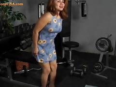 18 years old grabs the cock in the gym