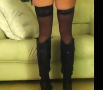 Wife drilled in pants and boots