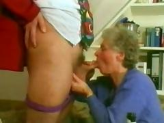 Slutty and very horny Russian grannies sucking a man's penis