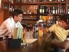Three horny gay hunks fuck in a pub