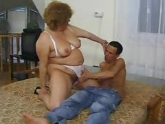 Lonesome fat Russian woman masturbating and pleasing a skinny dude