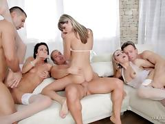 Amazing orgy with three gorgeous cock sucking bitches
