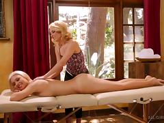 Sensual massage turns into a steamy and hot lesbian affair