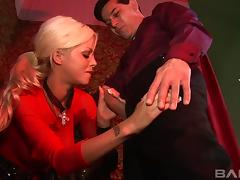 Lustful blonde goes to the priest to get a taste of his dick