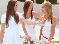 Sporty teen honeys having a lesbian threesome on the tennis court