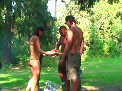 Olympia & Roxi & Veronica in real college sex video made in the outdoors