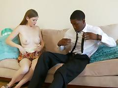 A suited black dude gets his way with a stunning pale slut