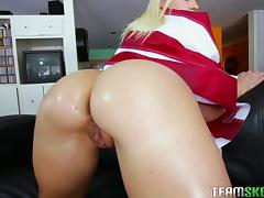 Big ass blonde Anikka Albrite wrapped in the flag for hot sex