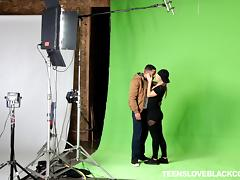 Co-stars on a photo shoot have red hot interracial sex