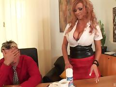 Secretary lets him suck whipped cream off her huge tits