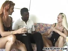 Amateur interracial 3some with facial cumshot