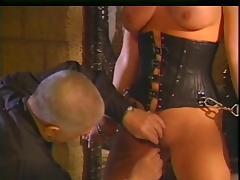 Horny old master enjoying his big tits blonde slave