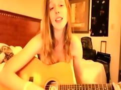 My hot amateur strip shows me playing guitar, naked