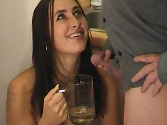 A cock sucking and pee drinking beauty