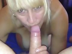 Married cheating wife swallowing cock