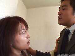 Slutty older Asian bitch gets a facial on the staircase