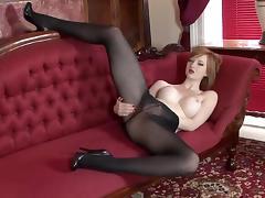 Busty British Redhead Indulges Erotism