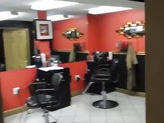 After hours blowjob with facial in a hair saloon