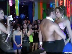 Skimpy clothed European sluts dancing and teasing guys at a party
