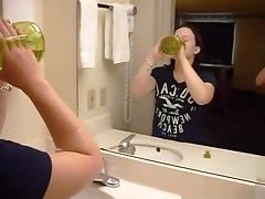 Dirty talking chubby girl watches herself get doggystyle fucked in the mirror