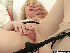 British milfs Lucy Gresty and Lulu Lush in maid outfit