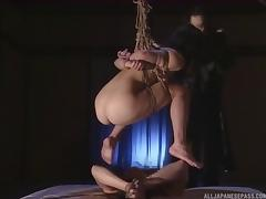Tied up Japanese couple made to fuck by their master