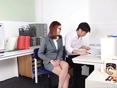 Sexy Japanese teacher in glasses fucked by a colleague