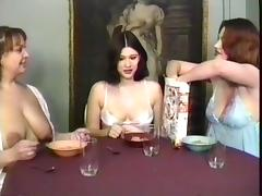 Milf maids having a breakfast and drinking milk from their own boobs