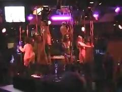 Pattaya asian girls poledancing naked in a bar