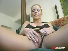 Constantly horny solo bitch with fake big tits using a massive dildo