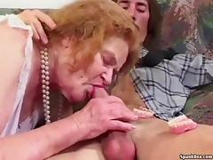 Granny loses her teeth while sucking