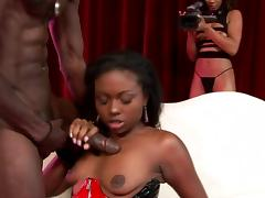 Ebony babe gets her wet pussy throbbed with a bbc