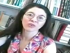Old and freaky European librarian milf shows her hairy pussy