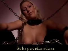 Girl in chains fucked in bdsm torment chamber