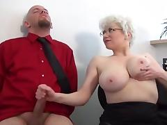 Granny Big Tits, Big Tits, Boobs, Couple, Femdom, Handjob