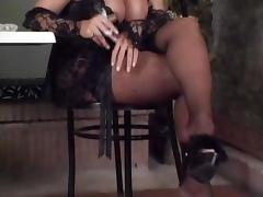 Randy Blonde Tranny In Stockings Creamy Sex