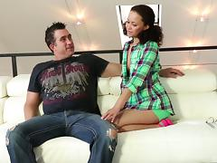 Cute slut sucks and screws a fat cock guy lustily