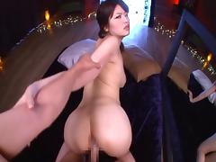 Bikini clad Japanese broad rides her new stud cowgirl pose till orgasm