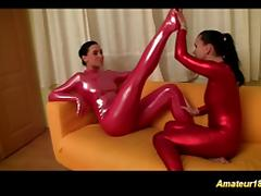 horny lesbian spandex sex gymnasts