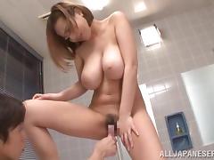 big breasted japanese slut loves her dildo
